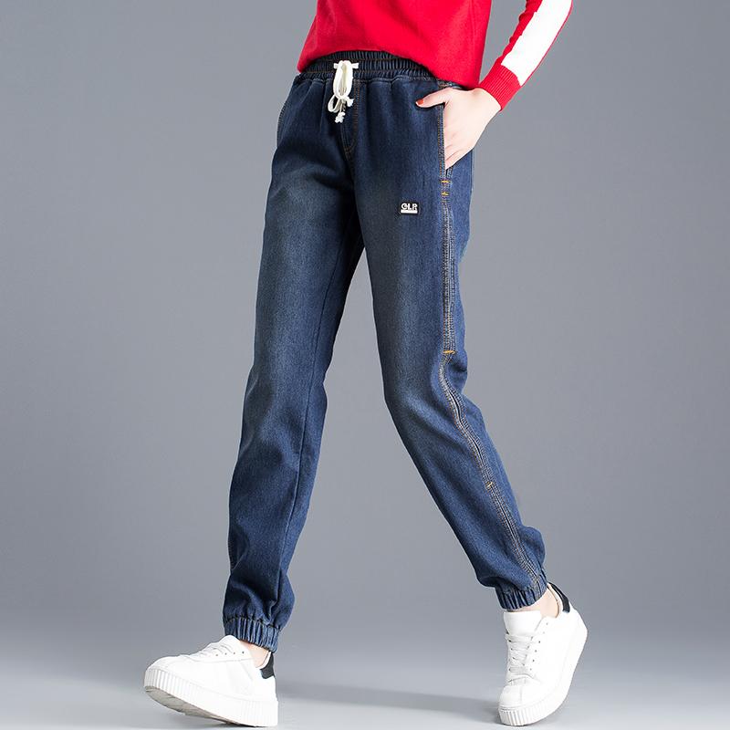 松紧腰大码休闲保暖收口加绒牛仔裤女长裤冬季新款韩版宽松哈伦裤