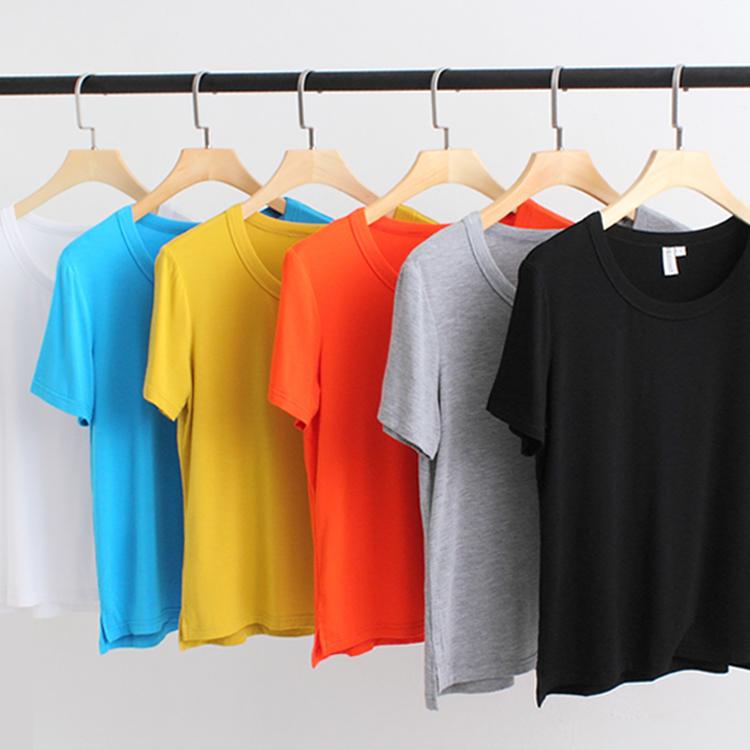 2021 summer new short sleeve T-shirt womens large base shirt loose short half sleeve modal simple womens top