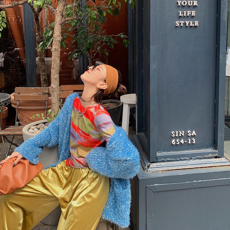 彩虹条纹长袖t恤女2019新款秋季修身显瘦上衣港味复古体恤打底衫包邮