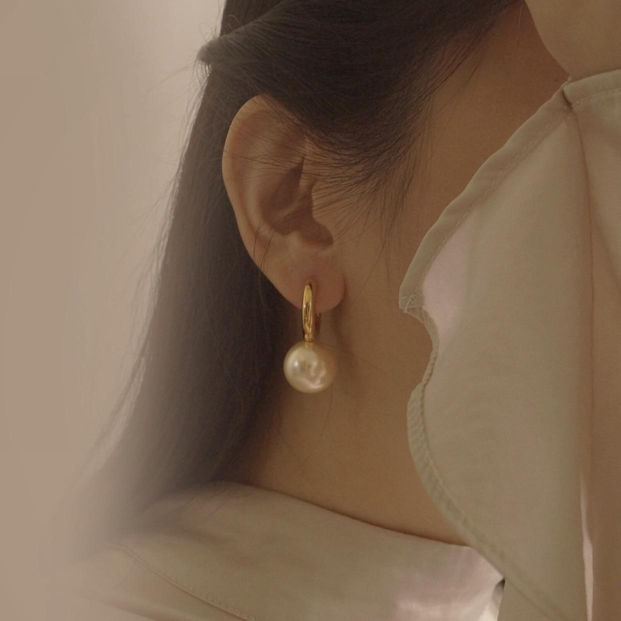 FUYIins博主达人法式时尚chic环状仿珍珠耳钉 铜镀金环耳环 简约