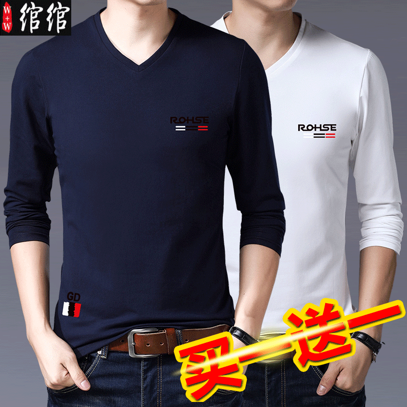 Mens spring clothes V-Neck long sleeve t-shirt mens Korean fashion pure cotton clothes mens slim spring and autumn mens wear