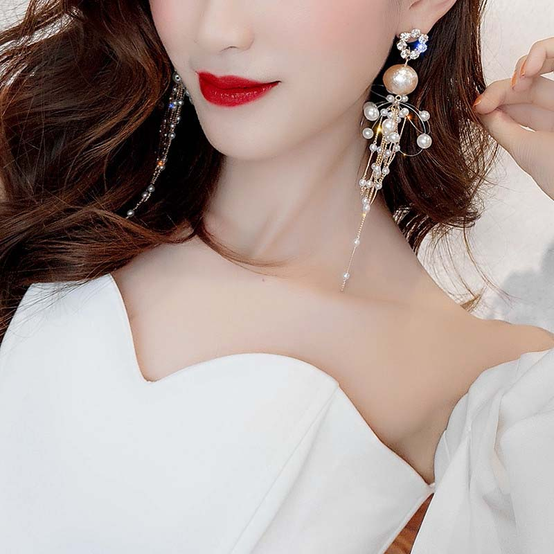 Flash diamond fishline Earrings super immortal Pearl Earrings female fashion personality exaggeration net red temperament versatile Earrings
