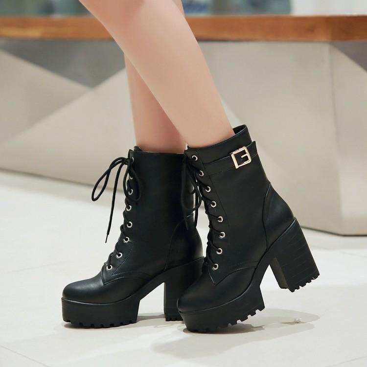 2018秋冬新款短靴皮帶扣防水台粗跟中筒系帶馬丁靴高跟女靴子大碼