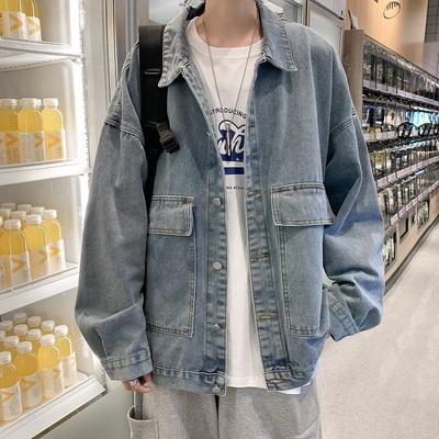 港风秋季纯色中性外套宽松oversized男上衣休闲牛仔夹克JK202/P60