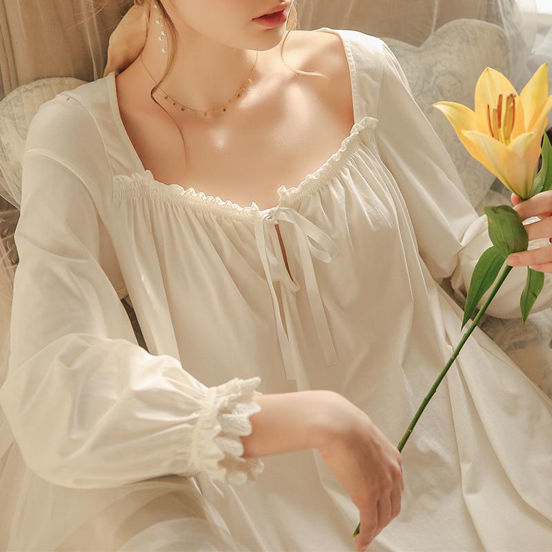 春秋性感宫廷风长袖宽松可爱公主睡裙长款仙女法式纯棉睡衣女夏季