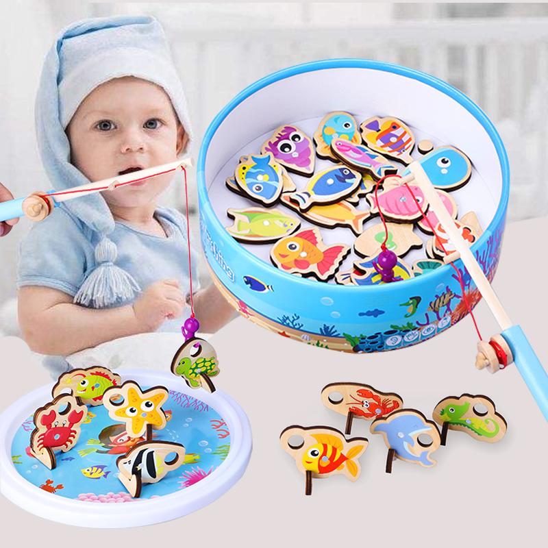 儿童益智早教磁性钓鱼玩具套装男孩女孩1-2-3周岁半宝宝亲子游戏