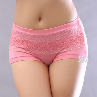 Fat mm XL waist Ms briefs underwear modal cotton bamboo fiber sexy lace belts