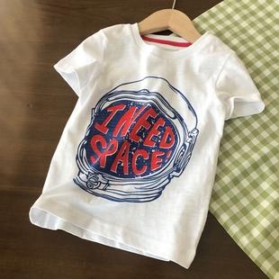 儿童Tee 160男童白色印花短袖 100 水印 凉爽透气竹节棉 T恤