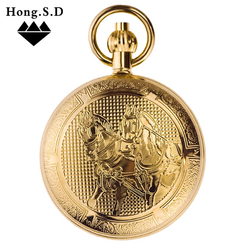 马到成功 金属铜自动机芯机械怀表老上海挂表男女复古翻盖照片DIY