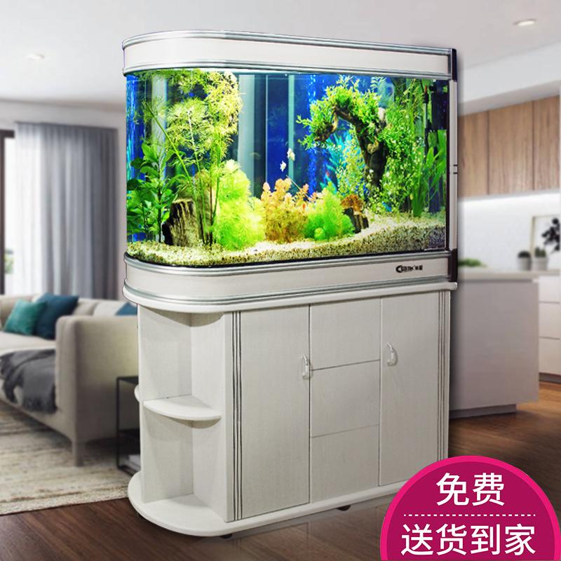 子弹头鱼缸客厅家用隔断柜造景装饰热弯玄关小大型生态玻璃水族箱
