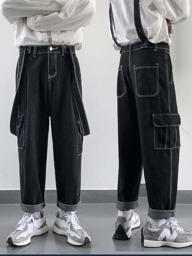 Street retro Japanese strap jeans mens autumn loose straight tube ultra hot work clothes fall feeling wide leg suspender pants