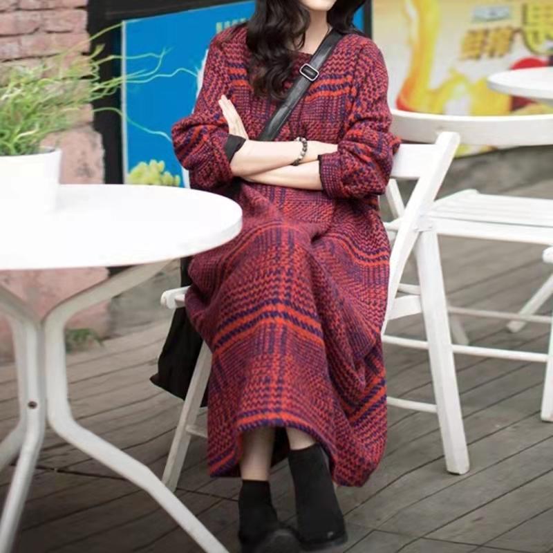欧美街拍秋冬袍子连衣裙原创设计复古宽松显瘦羊毛呢加厚气质长袍