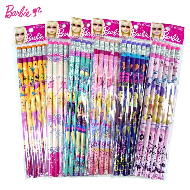 ~36入裝~芭比兒童鉛筆小學生學習用品女文具無毒圓杆HB筆帶橡皮