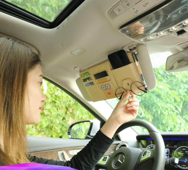 Car sunshade storage multi-functional car interior decoration products card bag card bag ticket holder