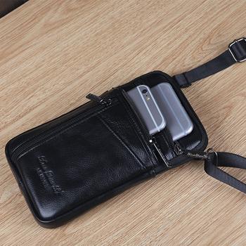 男士手机包穿皮带腰包多功能大容量休闲小单肩包男迷你真皮斜挎包