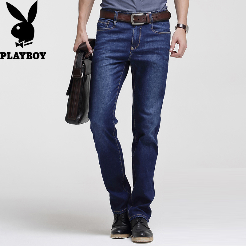Playboy official jeans men's spring and summer elastic fit trend pants men's loose straight high waist pants