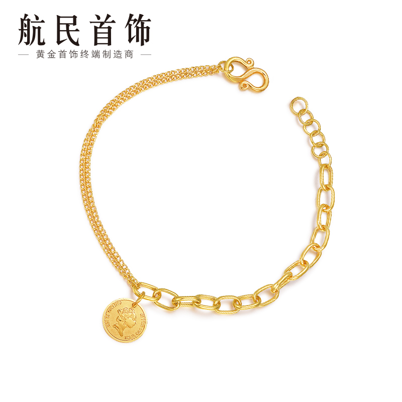 New Hangmin Jewelry Gold Bracelet Pure Gold 999 Retro Queen Coin Bracelet XYA1289 Labor 150