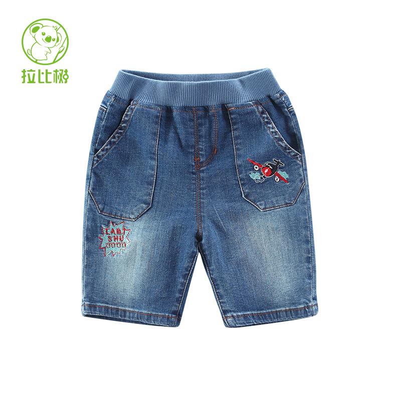 拉比樹 男童春裝繡花牛仔中褲 嬰兒寶寶純色牛仔褲小童五分褲