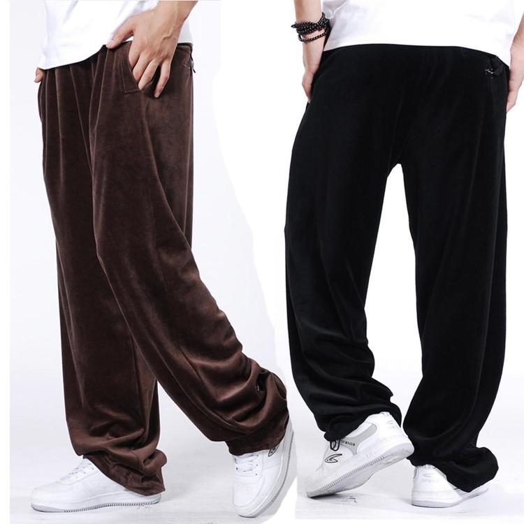 Здоровье и досуг брюки бархата осень мужской свободные и удобрения длинные брюки мужчины брюки размер XL мужские штаны движения опекуна