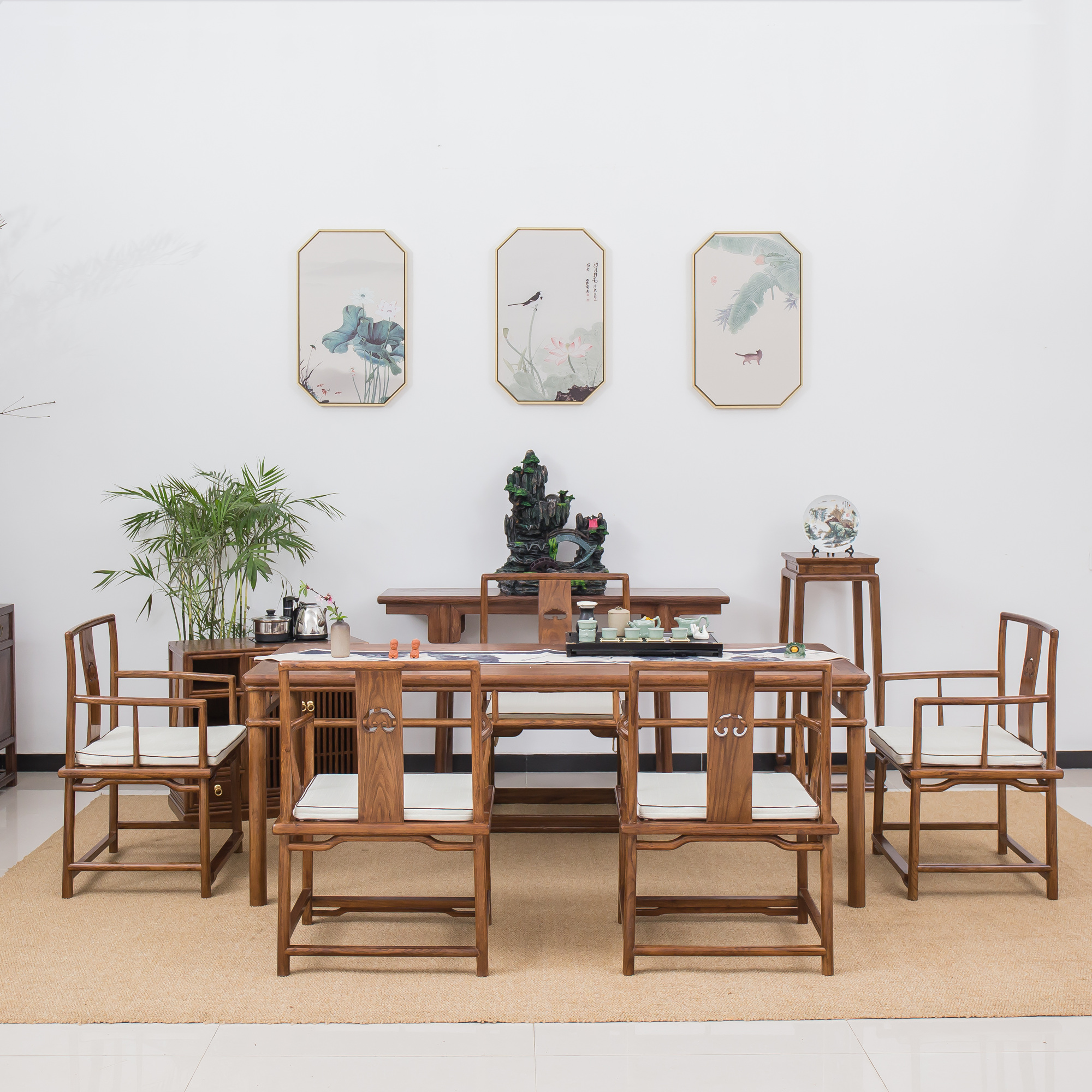 Black walnut tea table and chair combination solid wood new Chinese Zen tea table one table five chairs old elm tea room furniture