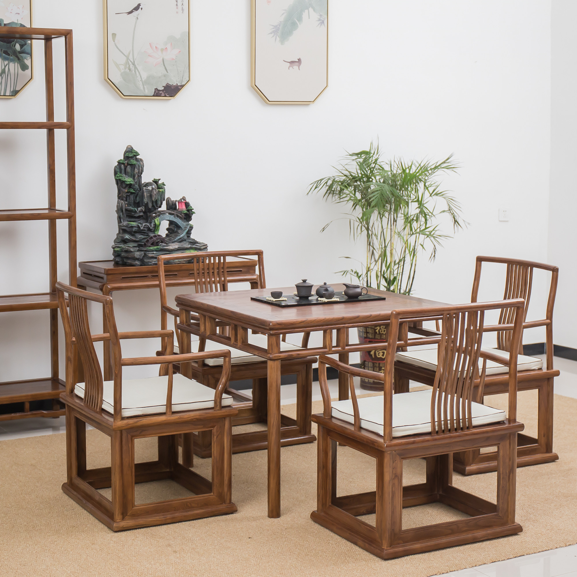 Old elm square table, dining table and chair combination, new Chinese tea table and chair combination, all solid wood furniture, square table, eight immortals table