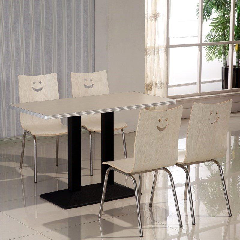 简单房间经济型一桌4椅餐桌桌椅单个普通通用排挡四人快餐桌中式