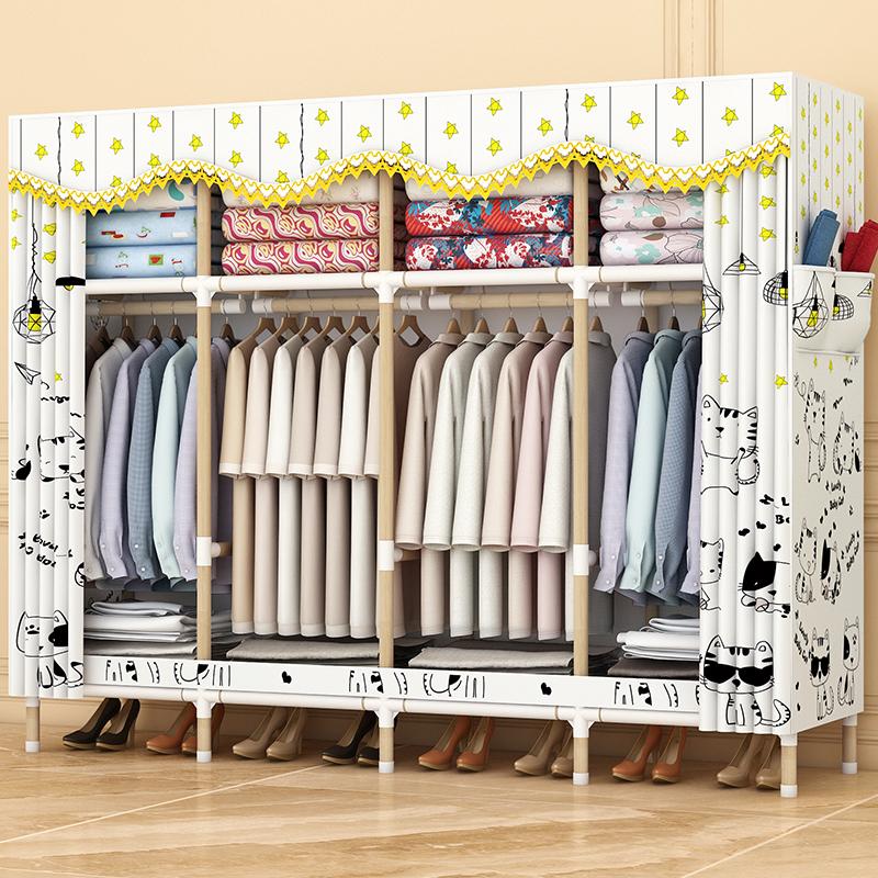 简易衣柜出租房用组装实木布艺挂衣橱家用卧室收纳布衣柜现代简约