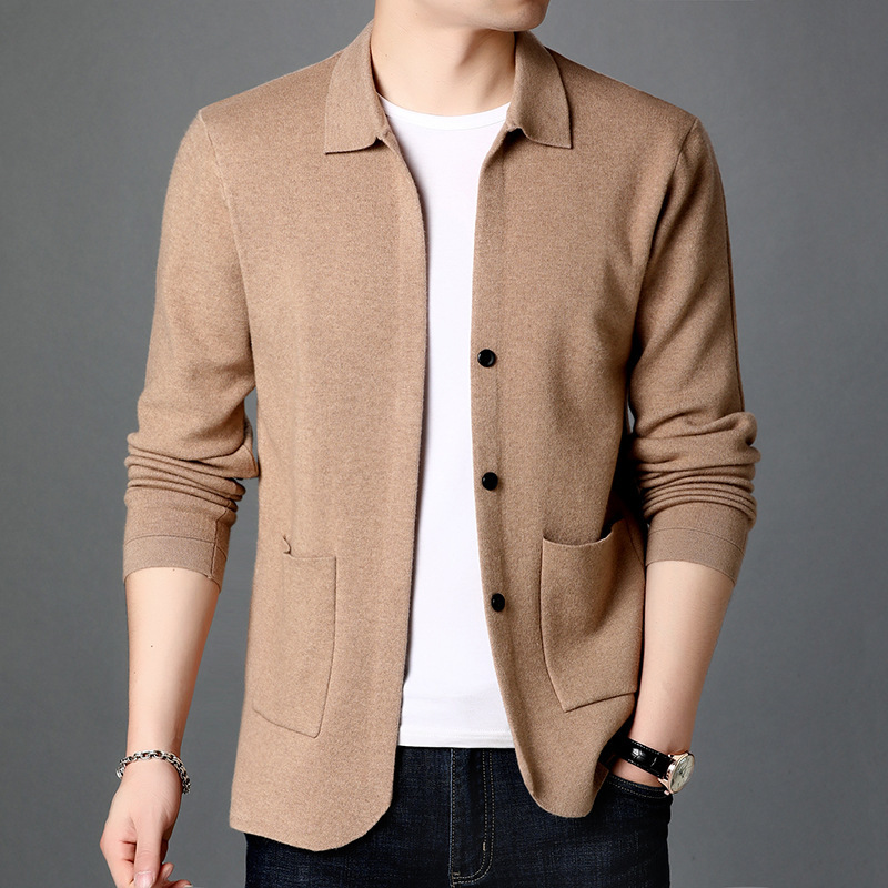 Spring and autumn 2020 new mens sweater fashion solid color sweater cardigan long sleeve Lapel knitted coat casual mens wear