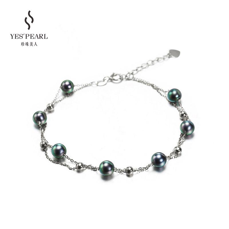 珍珠美人满天星正圆海水珍珠手链女纯银韩版送女友小众设计款正品