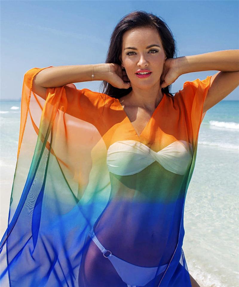 欧美比基尼海滩透视宽松罩衫裙度假渐变条纹雪纺纱沙滩长裙外搭夏