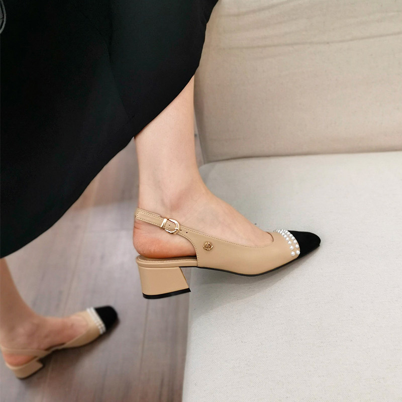 小香风女鞋春夏2020年新款包头粗跟法式凉鞋中跟拼色晚晚风温柔鞋