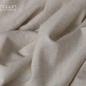 一米价 无瑕疵处理 米色弹力涤麻布料 柔软旗袍汉服时装面料