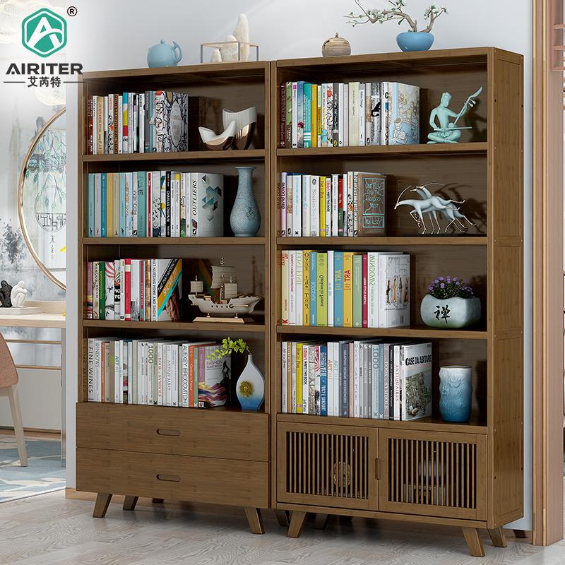北欧简约实木书柜带门书架置物架落地学生儿童卧室书房收纳展示柜