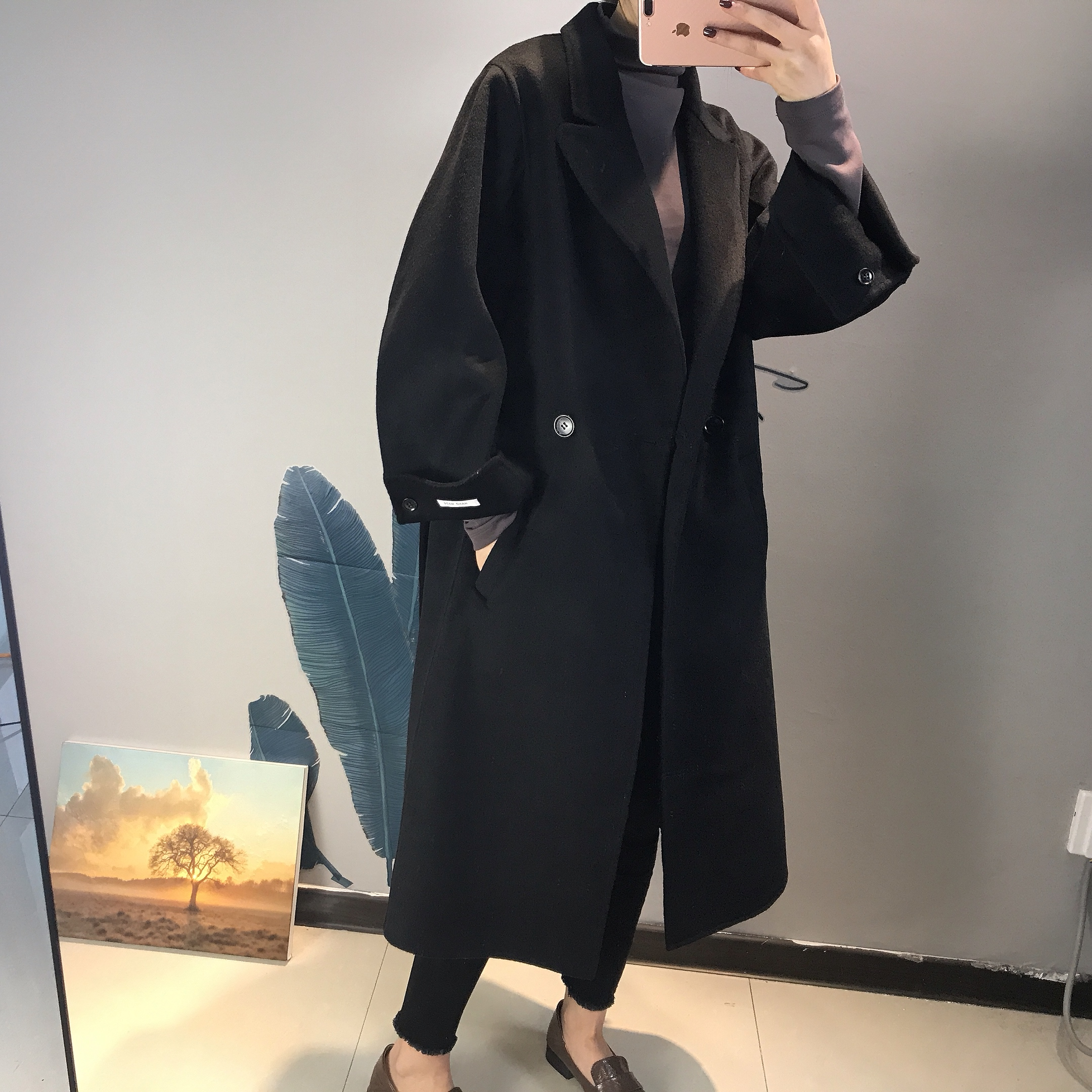 Double sided cashmere overcoat in early spring of 2020 womens autumn and winter Hepburn style woollen cloth over the knee