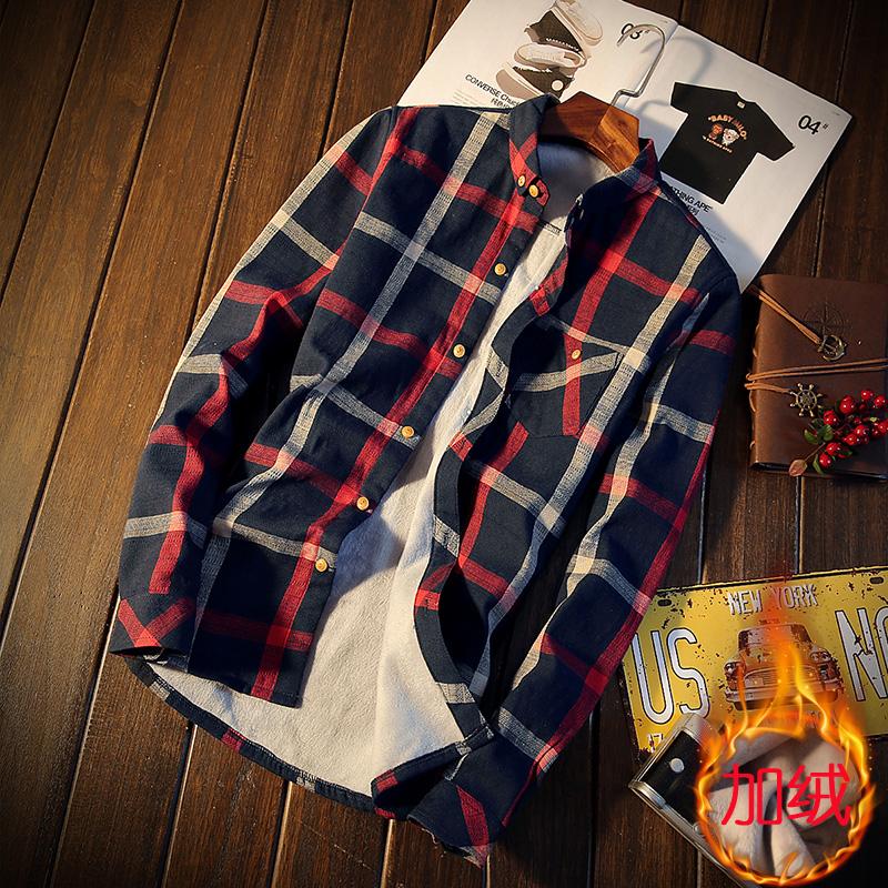 35%棉62%聚酯纤维%其他纤维冬装新款格子加绒加厚衬衫男JH005-P55