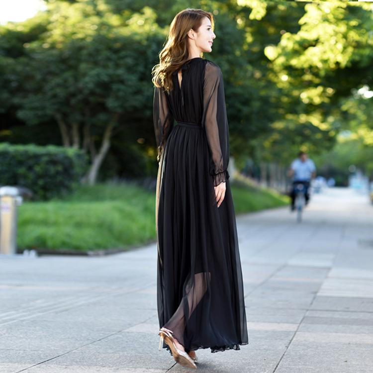 超长款仙女飘逸长袖雪纺大摆夏长裙