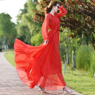 雪纺超长款大摆连衣裙大码气质仙女裙长裙夏裙子女超仙沙滩度假裙