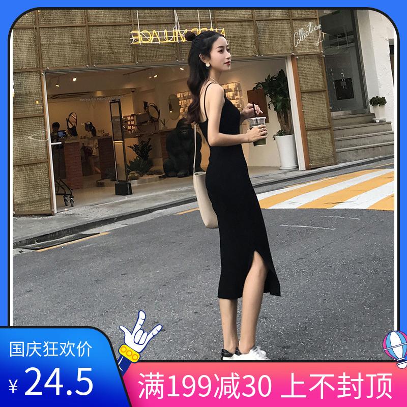 12-01新券针织连衣裙吊带2019新款打底裙子