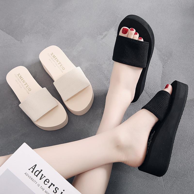 厚底拖鞋女夏外穿时尚凉拖坡跟百搭松糕一字拖防滑大码高跟沙滩鞋