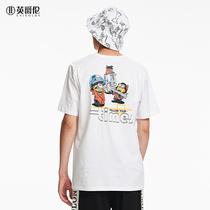 英爵伦 创意趣味 卡通人物主题印花短袖T恤男 青年夏季圆领上衣服