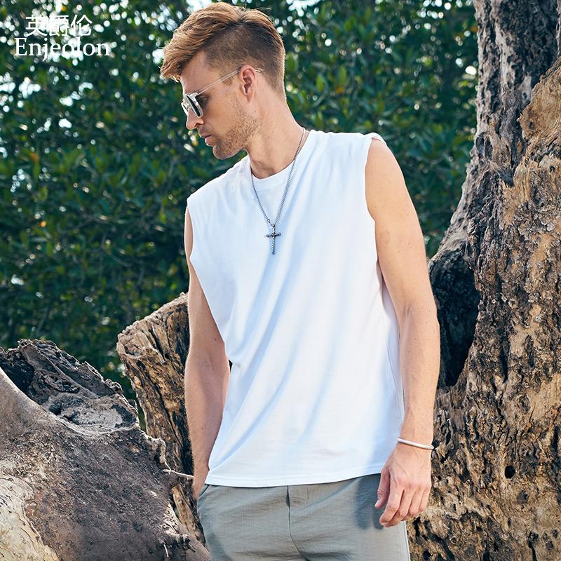 英爵伦 男士宽松背心 纯棉圆领无袖T恤 夏季海边沙滩坎加 汗衫潮
