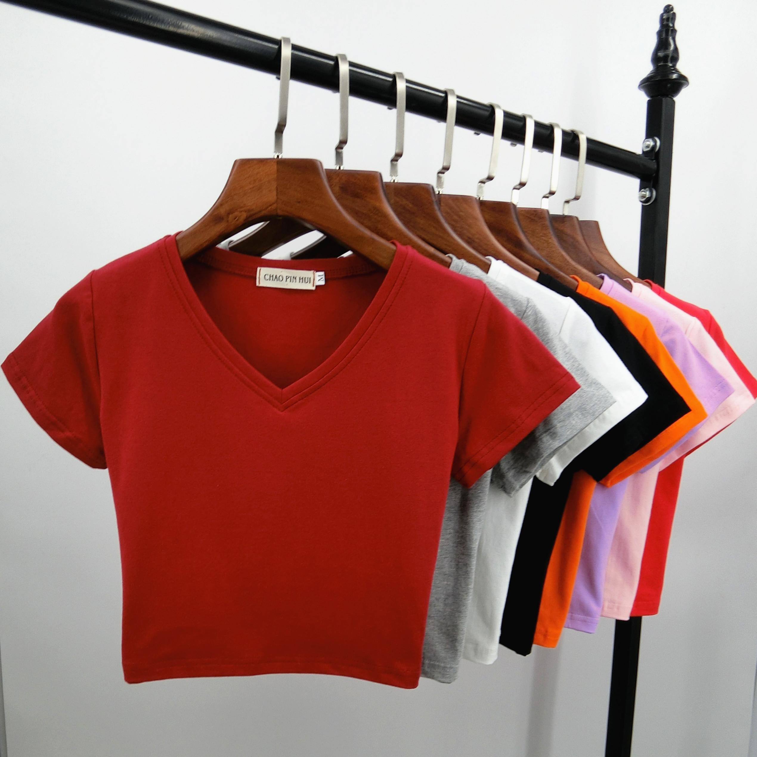 露脐短袖女V领短款t恤漏肚脐紧身打底衫短装小衫泫雅风高腰上衣