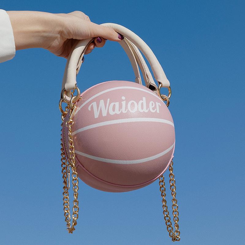 个性网红圆球包包女2020新款潮洋气粉色篮球包百搭ins斜挎包小包图片