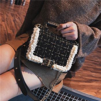 2018冬季新款韩版珍珠呢子小包包