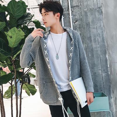 秋季男装毛衣针织开衫连帽韩版青年男士毛线上衣M108/P85 控价98