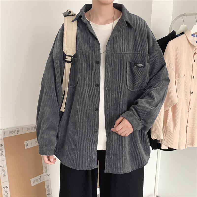 韩风ins复古暗黑系口袋灯芯绒衬衫外套男女学生休闲长袖衬衣