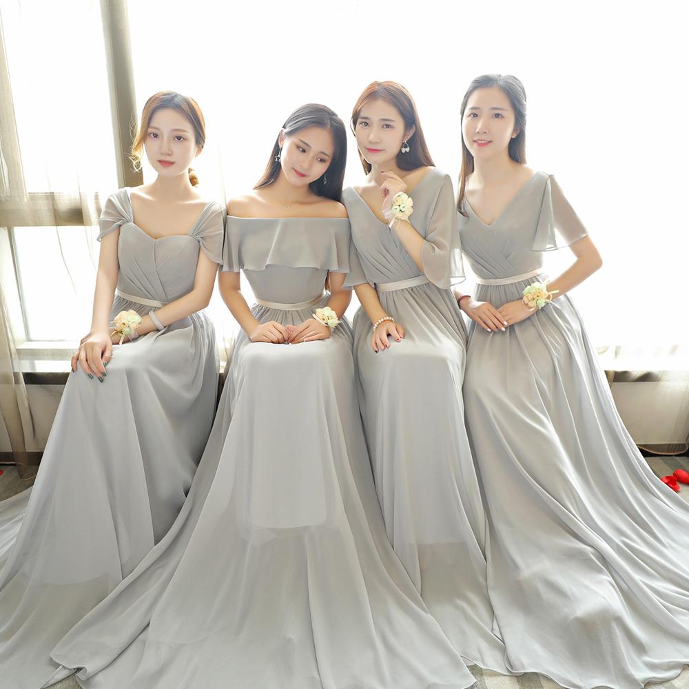 长款伴娘服姐妹裙2020新款一字肩修身显瘦伴娘团宴会晚礼服连衣裙