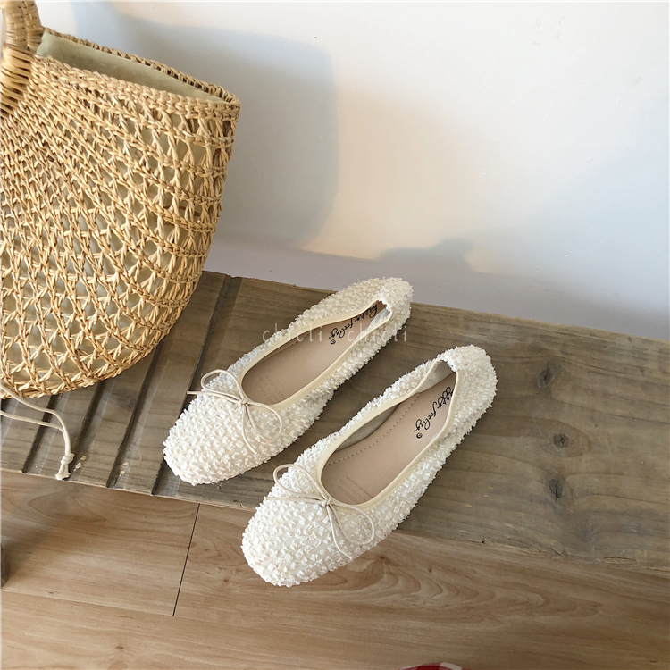 Gentle apricot goddess early autumn flat bottom bow single shoes Korean square head ballet fairy lazy single shoes
