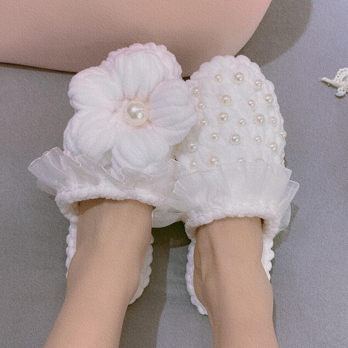 抖音同款泡芙花手工编织拖鞋diy材料包自制成品毛线冬季保暖珍珠