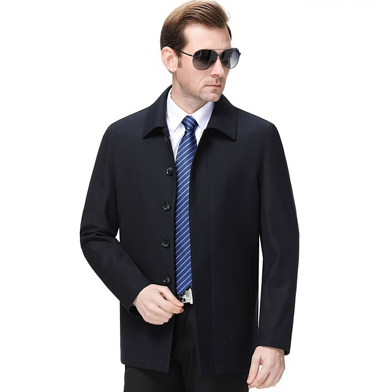 Ouana new spring and autumn mens solid lapel jacket middle aged mens dad business casual wool coat